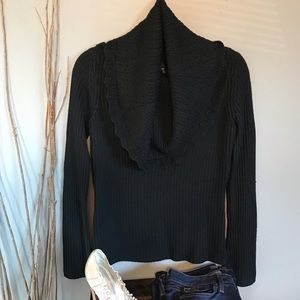 Tahari Black Scalloped Edge Cowl Neck Sweater